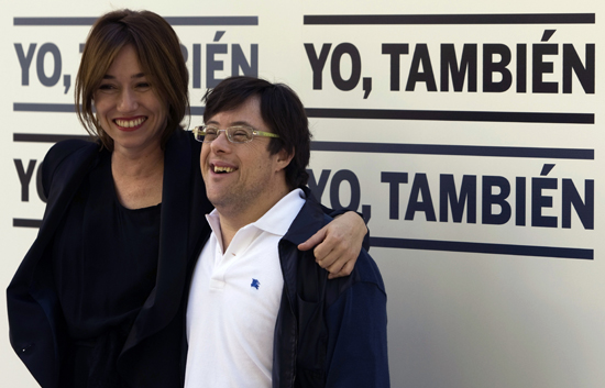 "Spanish actors Duenas and Pineda pose during a photocall to promote their latest film ""Yo Tambien"" in Madrid"