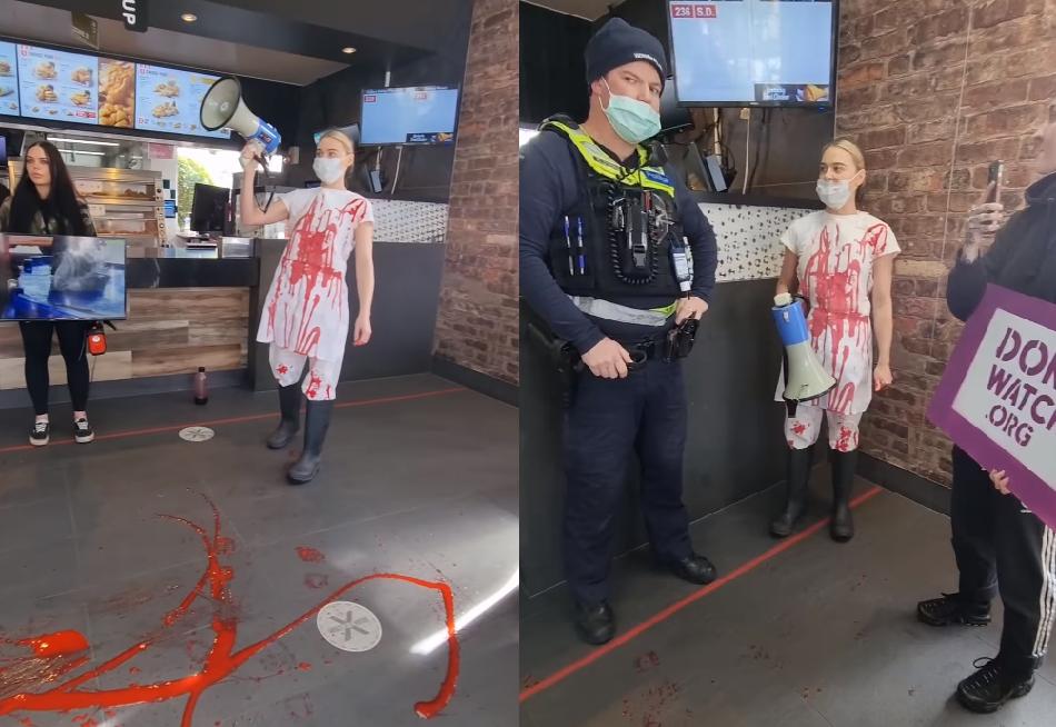 """""""Ez az állatholokauszt"""" – művért locsolt szét egy gyorsétteremben egy vegán aktivista Ausztráliában   szmo.hu"""